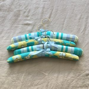 Blue/Green Floral & Striped Fabric Hangers Set